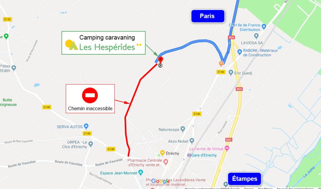 Plan d'accès Camping Caravaning Les Hespérides